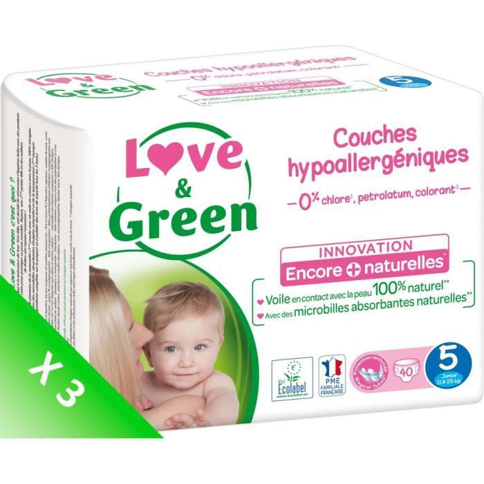 LOVE AND GREEN Couches écolabellisées T5 - 120 couches - Eco Pack