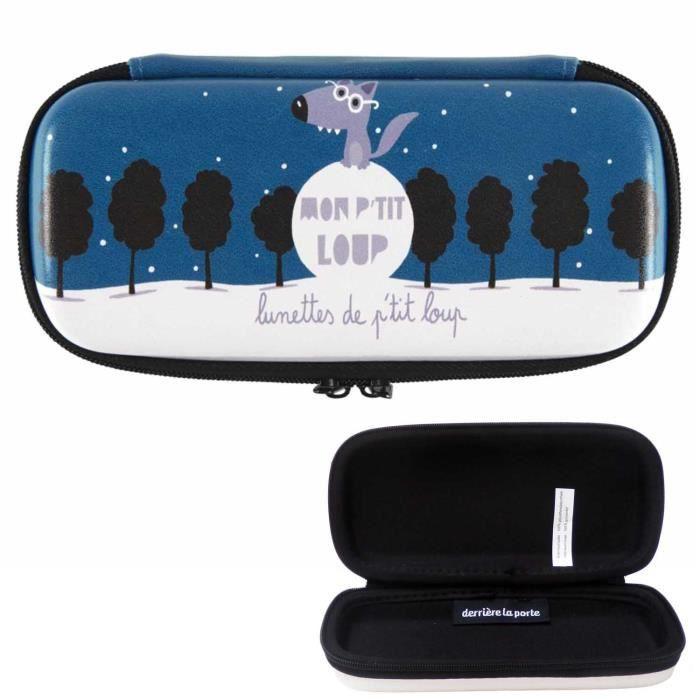 Étui à Lunettes MON PETIT LOUP Bleu Boîte Rangement de Soleil Vue Idée Cadeau Original pour Enfant Garçon Bébé DLP Derrière La Porte