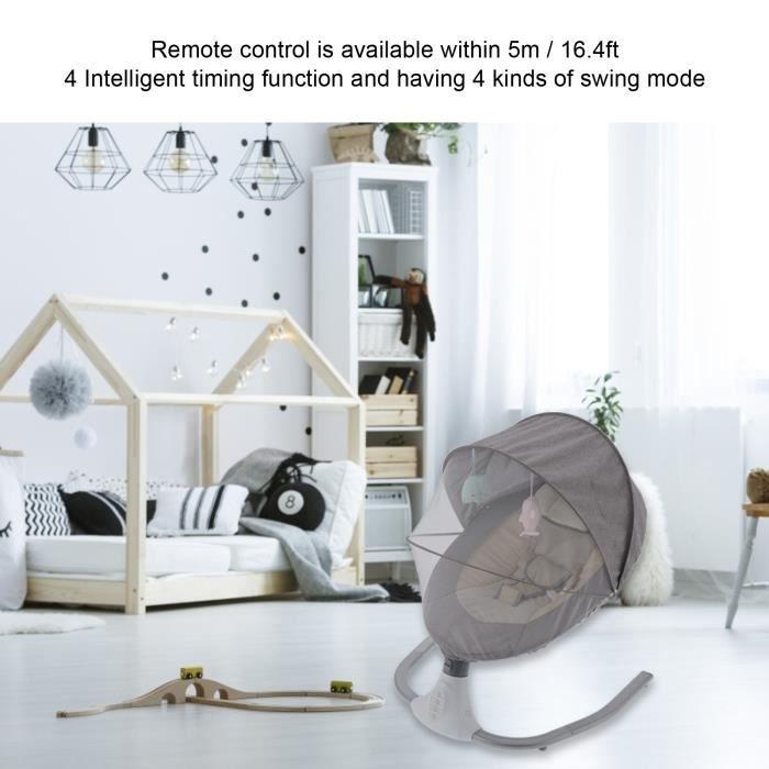 Balancelle bébé - Transat électrique Gris - 4 modes de swing - bluetooth musique -OLL