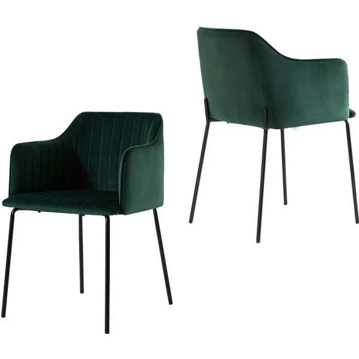 EMT CASA Lot de 2 Chaise avec accoudoirs et dossier, chaise de cuisine scandinave, pieds en métal velours doux(Vert foncé)