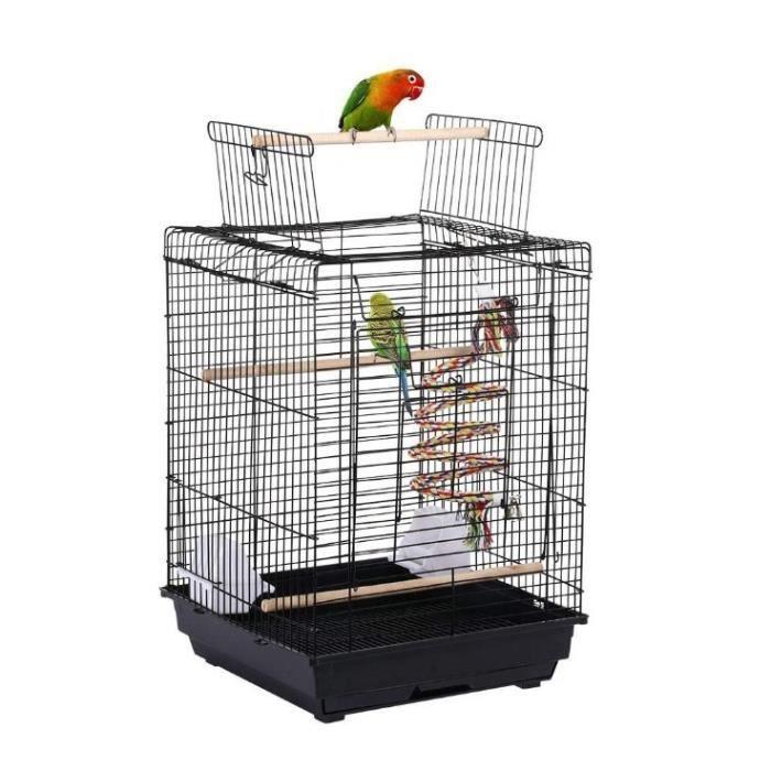 JEOBEST® Cage à Oiseaux 40 x 40 x 58 cm Ouverture Supérieure