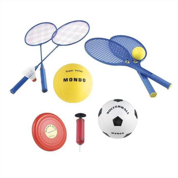 MONDO - Set Multisport Jeux de plage 5 en 1 (Badminton, Tennis, Volley, Football, Freesbee)