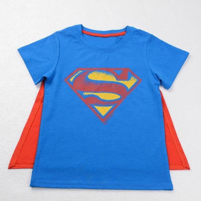 2-7 Ans Enfant Garçon T-shirt Super-héro avec Cape Manche Courte Tee-shirt Cool