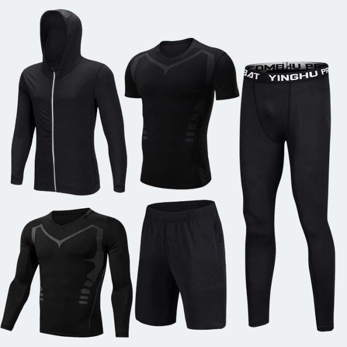 Ensemble de vêtements de sport homme 5 pcs T shirt manches longues-courtes+Collant Running+Short+Sweatshirt De Compression Fitness