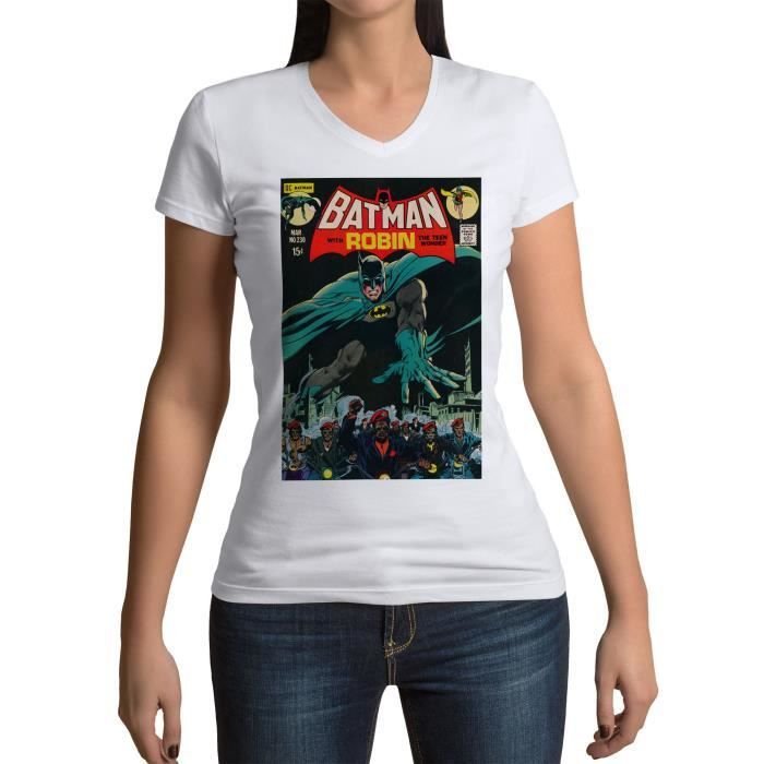 T-shirt Femme Col V Batman With Robin Bande Dessinee Comics Super Hero