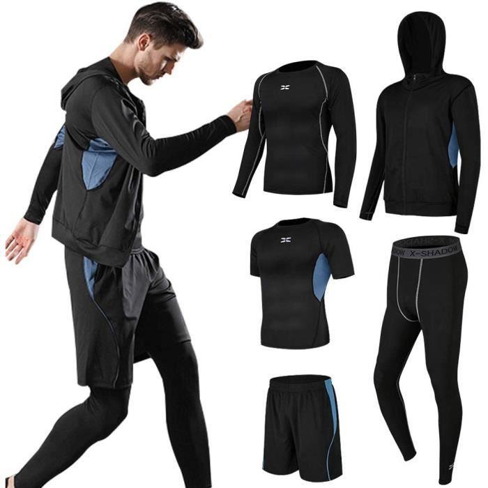 Ensembles De Sport de Suduation de Fitness Vêtements Entraînement Doux Séchage Rapide Respirant Course à Pied pour Homme 5 pcs Bleu