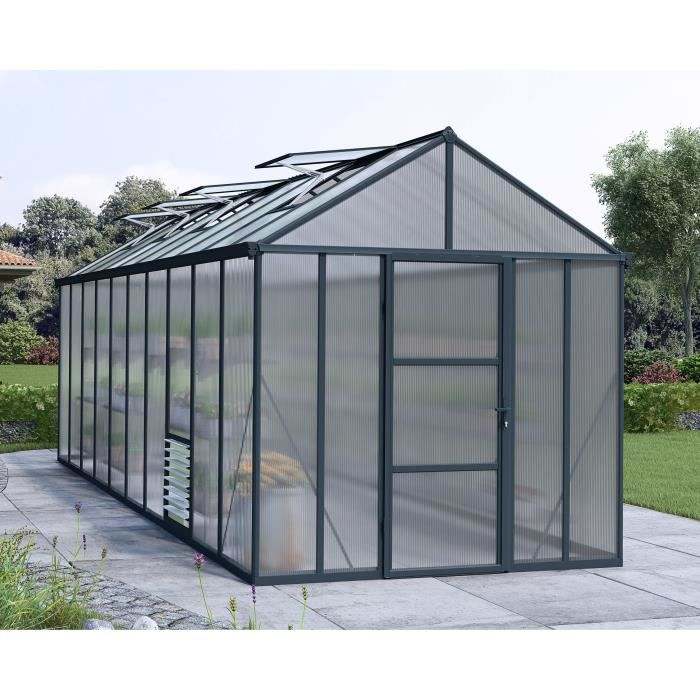 PALRAM Serre de jardin Glory 14,3 m² - Aluminium et polycarbonate - Double parois