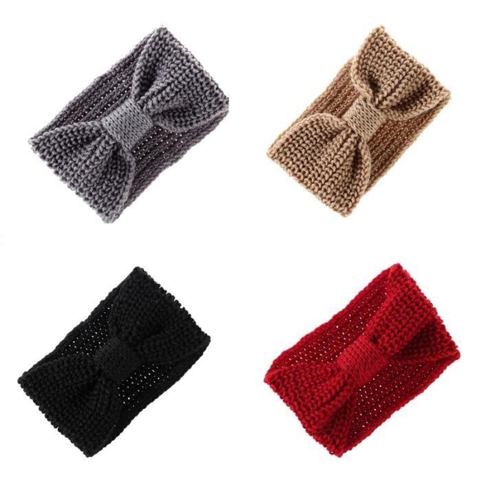 4 Pièces Stretch Knit Dames NouéEs Bande de Cheveux Arc Bijoux de Sport Coiffure Style RéTro