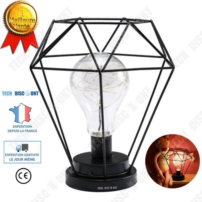 TD® Lampe suspension vintage blanc a poser zen ronde papier boule design bois abat-jour diamant à fil métallique cuivré lumière LED