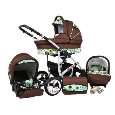 Largo 3 en 1 Poussette combinée avec siège auto Poussette Canne Accessoires 78 CHOCOLAT & DESIGN SPORTIF
