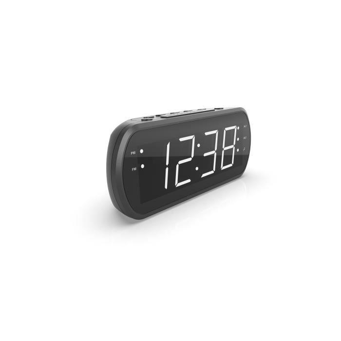 Radio Réveil Grand Affichage LED FM , Dual alarme, Led Rouge 1 port USB Intégré pour la Charge - Noir