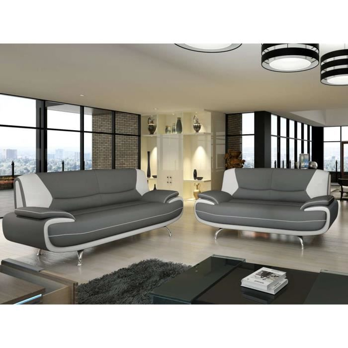 canap 3 2 places gris et blanc marita achat vente canap sofa divan simili bois. Black Bedroom Furniture Sets. Home Design Ideas