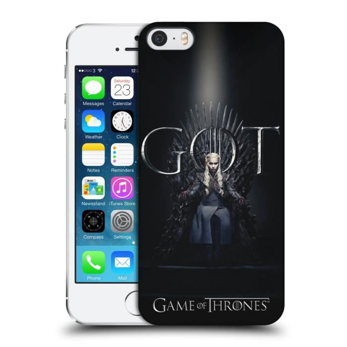 Officiel HBO Game of Thrones Daenerys Targaryen Season 8 For The Throne 1 Coque D'Arrière Pour iPhone 5 iPhone 5s iPhone SE