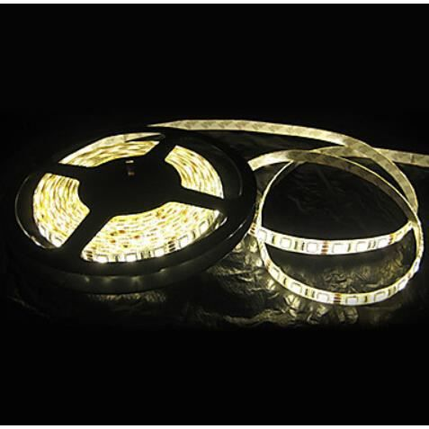 Blanc chaud led light strip 5m tanche smd 5050 300 led for Miroir 5 bandes