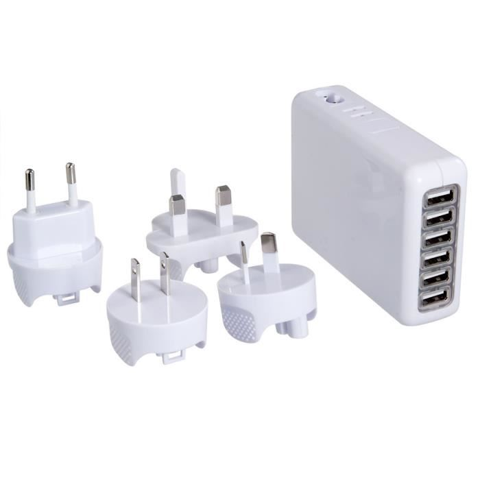 prise multiple de 6 femelle usb wall charger ch prix. Black Bedroom Furniture Sets. Home Design Ideas