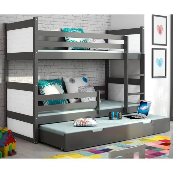 lit superpos rico 3 en pin 160x80 gris achat vente. Black Bedroom Furniture Sets. Home Design Ideas