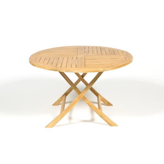 Table de jardin ronde pliante teck C FSC dia. 120cm - Achat ...