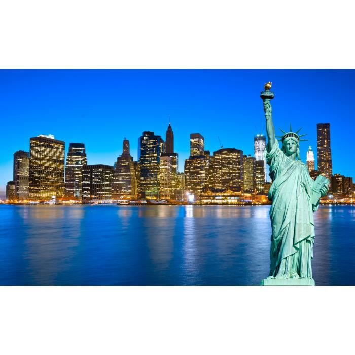 Stickers autocollant ou affiche poster panoramique statue for Autocollant mural new york