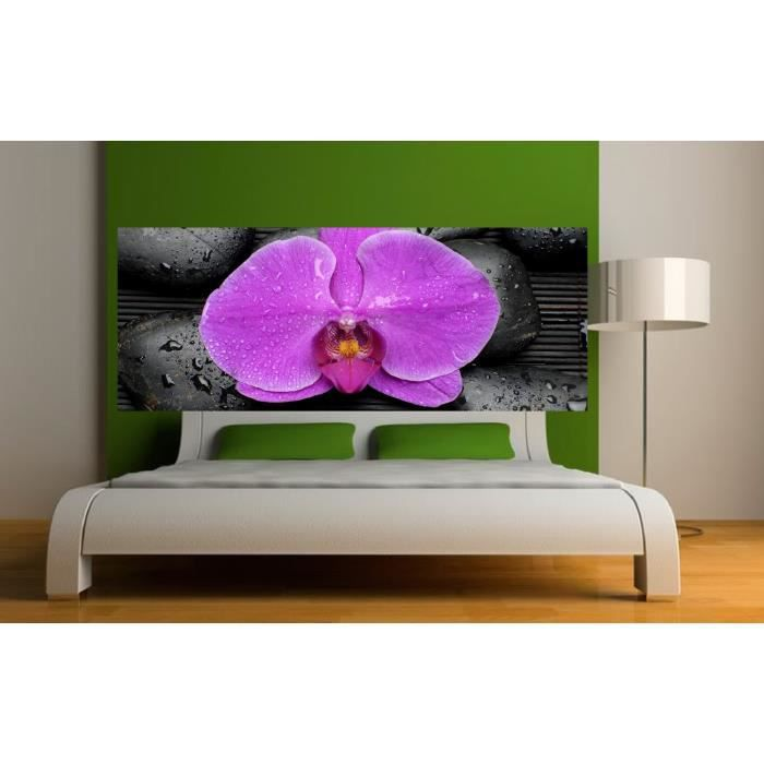 stickers t te de lit d co orchid e dimensions 300x117cm achat vente stickers cdiscount. Black Bedroom Furniture Sets. Home Design Ideas