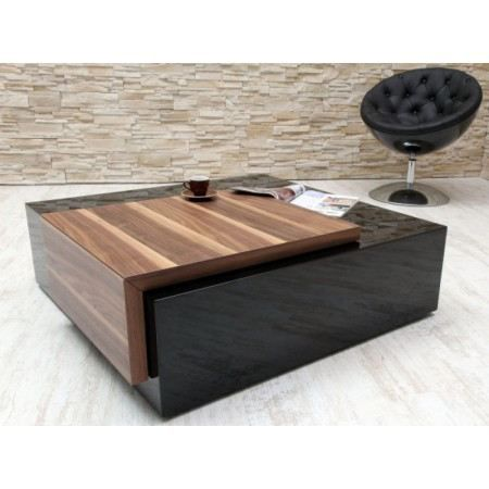 Table basse design secret noir laqu achat vente table for Table noir et bois