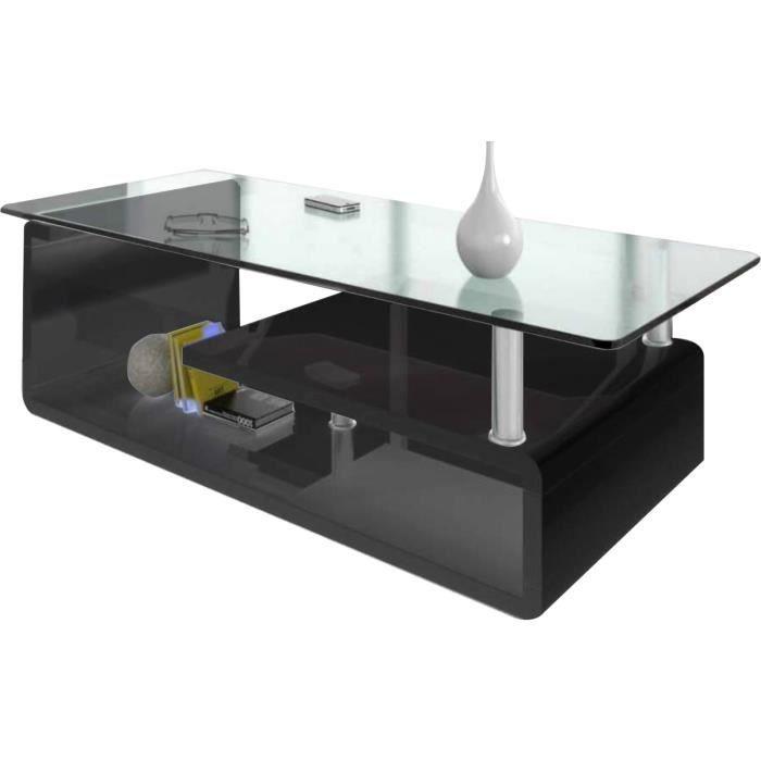 laqué noir design en verre Table en structure basse bois en knOX0w8P