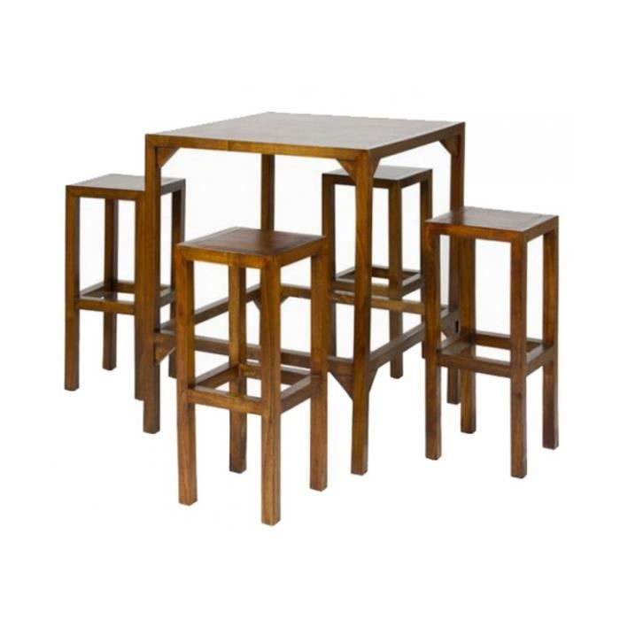 Ensemble bar table haute et tabourets de bar bois noyer for Table haute bar bois
