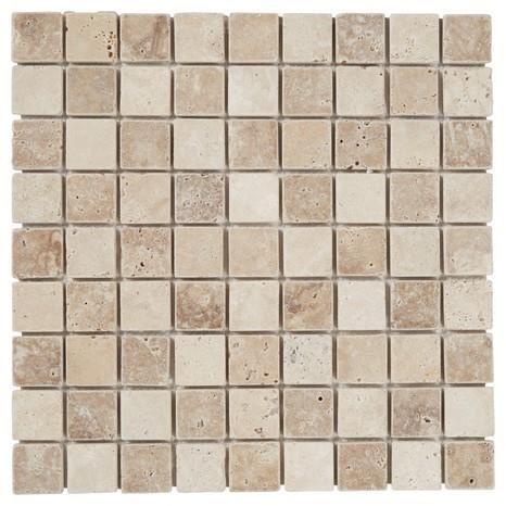 Mosaique En Pierre Naturelle Beige Sur Filet Carrelage De 32 X 32 Cm Mural