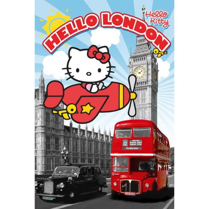 Poster hello kitty londres au loin big ben poster hello for Chambre de commerce francaise a londres