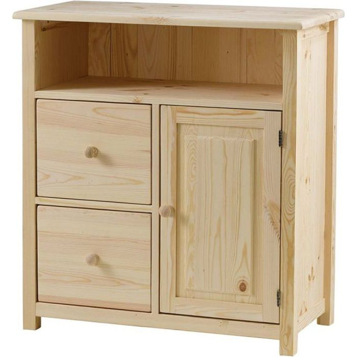 meuble de rangement pin massif brut 2 tiroirs achat. Black Bedroom Furniture Sets. Home Design Ideas