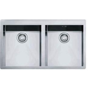 Eviers double cuves franke planar inox ppx220 achat for Dimension evier double
