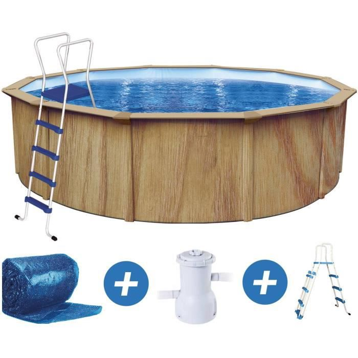 piscine acier ronde aspect bois x m achat vente kit piscine piscine acier. Black Bedroom Furniture Sets. Home Design Ideas