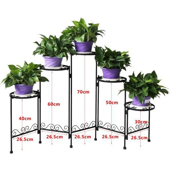 hlc porte pots jardin support fleurs plantes 5 niveaux etag re pour pot de fleur plante hauteur. Black Bedroom Furniture Sets. Home Design Ideas