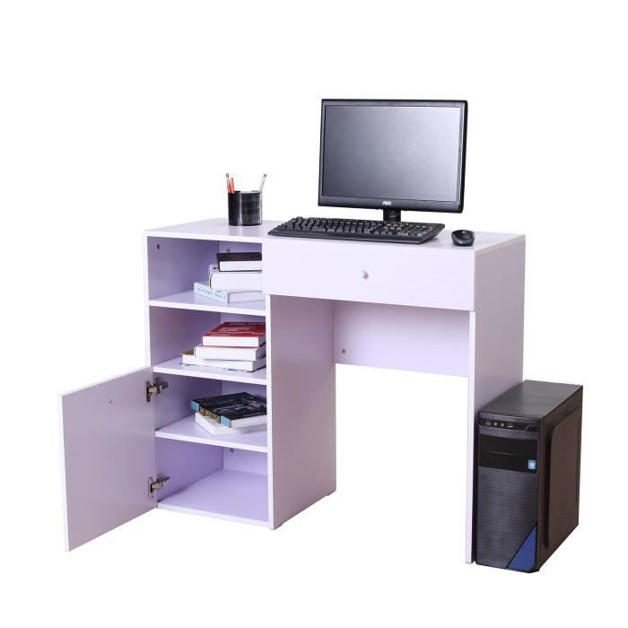 Bureau informatique multim dia multi rangements blanc 23wt for Meuble bureau secretaire informatique