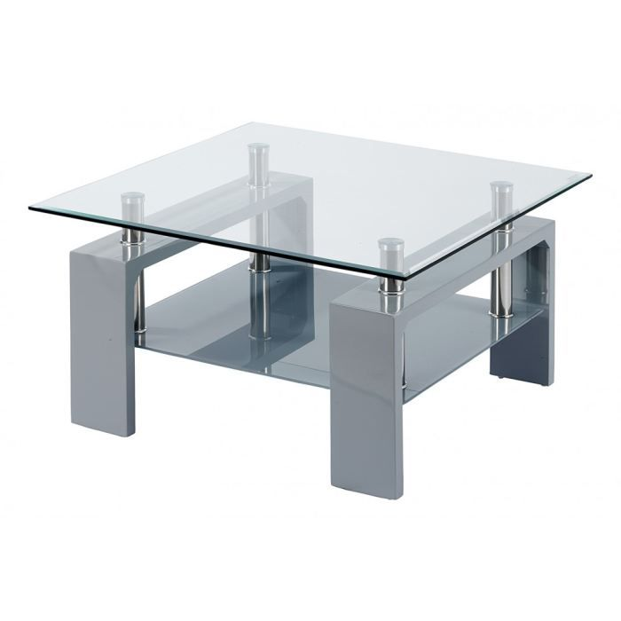 Table basse laqu gris carr e isabelle id 39 clik achat for Table basse gris laque