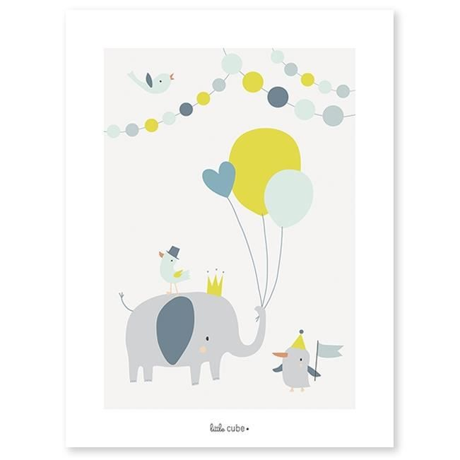 LILIPINSO AFFICHE POUR CHAMBRE ENFANT PAPIER ANIMALS PARTY BALLONS ...