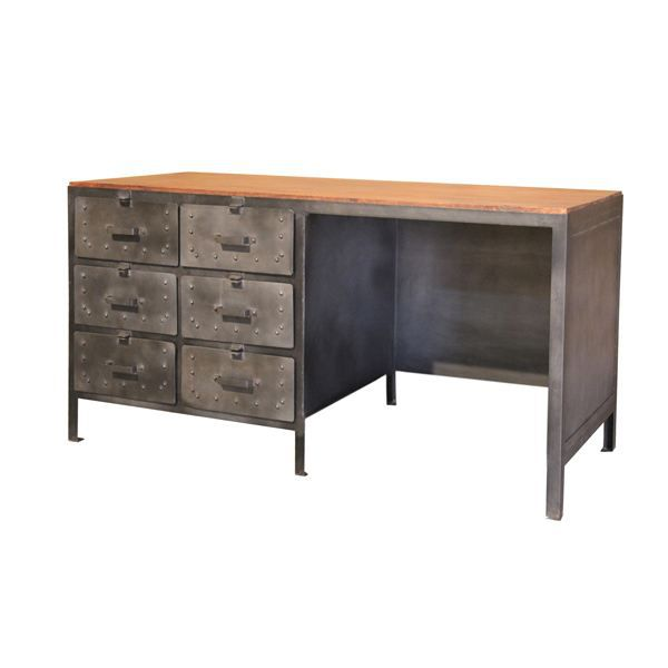 bureau industriel en acier et bois de manguier achat vente bureau bureau industriel en acier. Black Bedroom Furniture Sets. Home Design Ideas