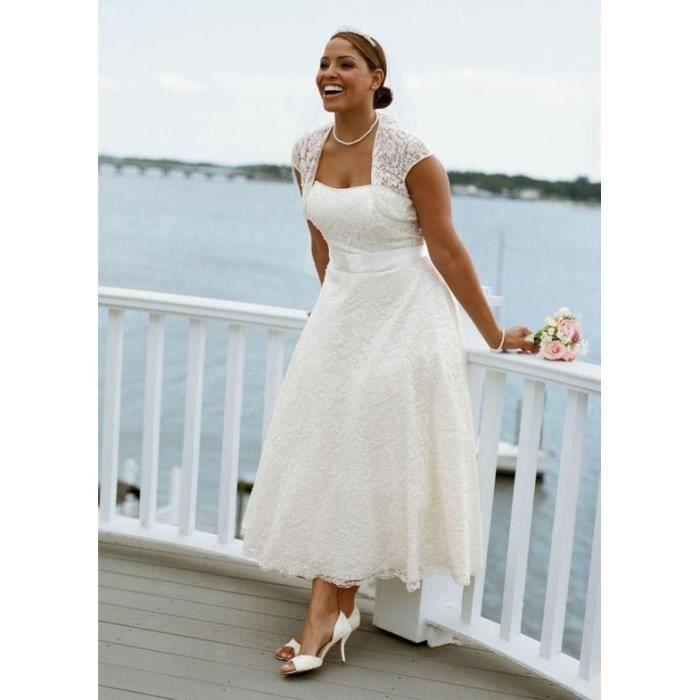 Grande Taille Robe de Mariage Blanche Mi-