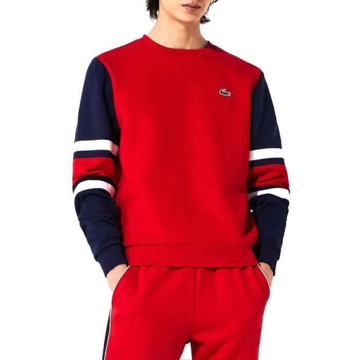 Sweat Manchons Lacoste Sport A Rayures Rouge
