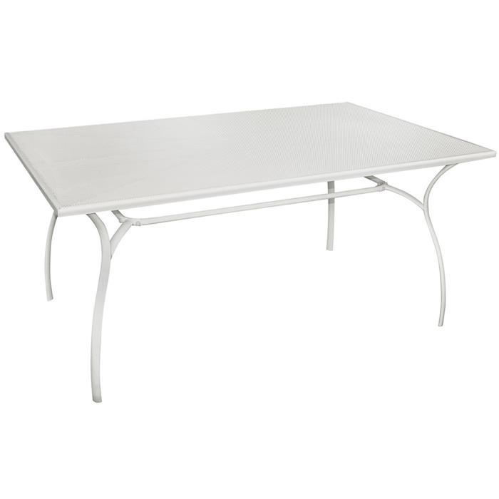 Table rectangulaire de jardin en fer forg coloris blanc for Vente table jardin