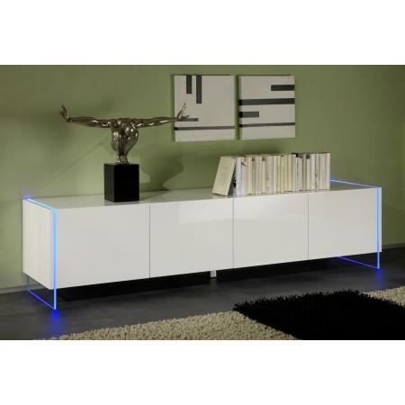 buffet bas design led blanc laqu 4 portes mars achat vente buffet bahut buffet bas. Black Bedroom Furniture Sets. Home Design Ideas