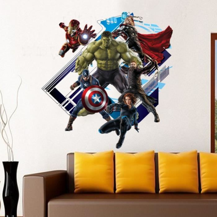 chambre 3d avenger autocollant mural b b enfants stickers. Black Bedroom Furniture Sets. Home Design Ideas