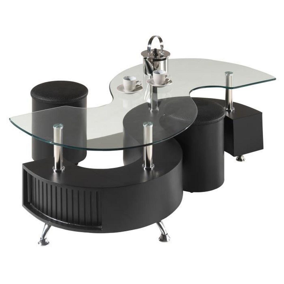 table basse design s avec 2 poufs en coloris noir noir. Black Bedroom Furniture Sets. Home Design Ideas