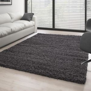 tapis poil long gris achat vente pas cher. Black Bedroom Furniture Sets. Home Design Ideas