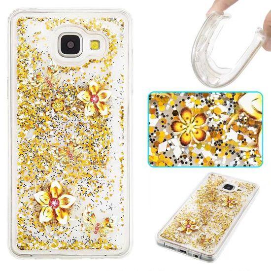 Coque Samsung Galaxy S5.Paillettes d'or fleurs Luxueux Brillant ...