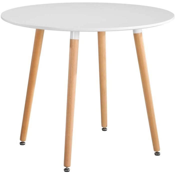 GOLDFAN Table Ronde Salle Manger Table Cuisine Salon Ronde Table à Manger Table en Bois avec Pieds en Métal Blanc[179]