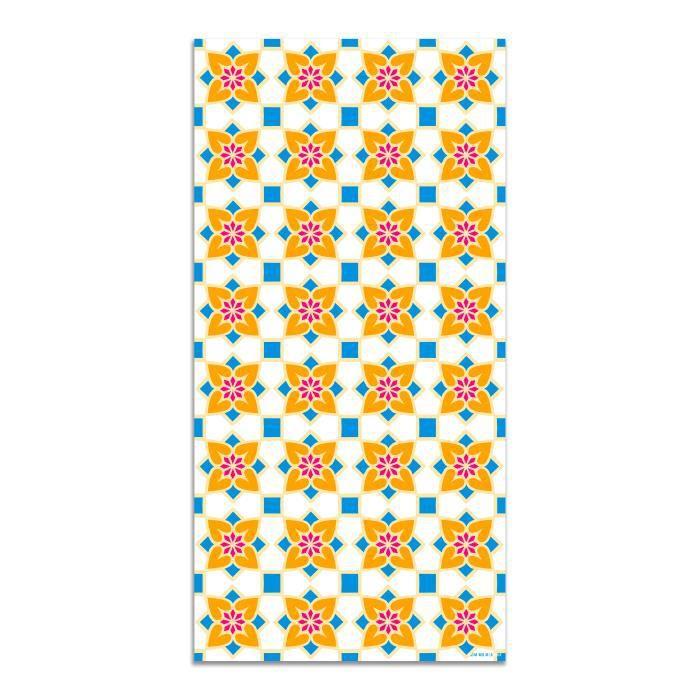 Agatha Ruiz de la Prada Tapis du sol Hydraulique Crème Carreaux de Fleurs 40x80cm - Tapis du Sol en PVC Vinyle