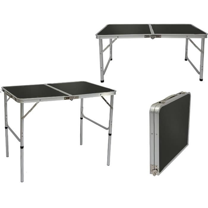 Table de Camping Portable 3kg Pliante en mallette 90x60cm aluminium Gris Foncé