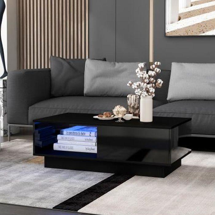 Table basse bar avec LED moderne pour salon 99 x 55 x 32 cm NOIR