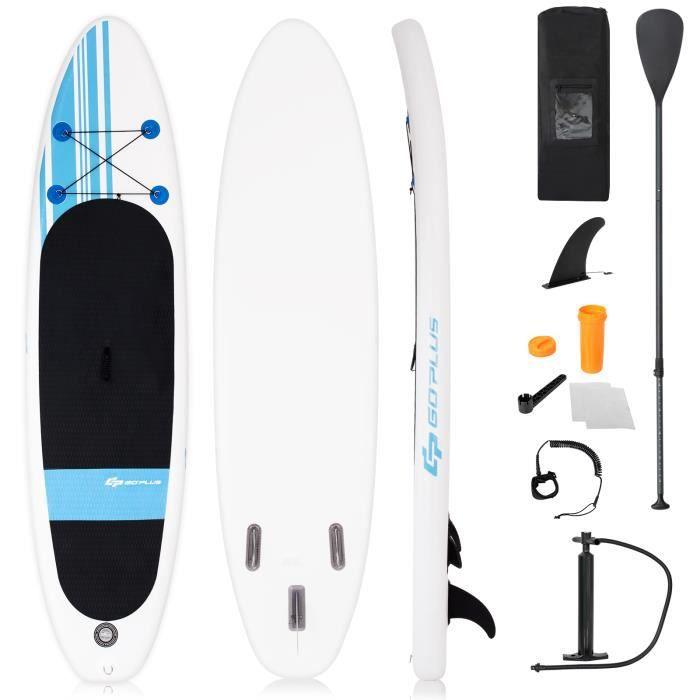 Stand Up Paddle Gonflable 305x76x15cm avec Accessoires Pagaie,Pompe Haute Pression Kit de Réparation, Leash, Aileron Amovible Corde
