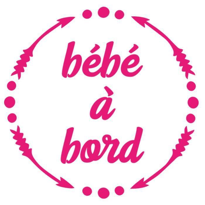 ADZIF.BIZ Sticker Bébé à Bord - Dimensions 15 x 15 cm - Couleur Rose - Aspect Brillant - Adhésif Autocollant Pour Voiture